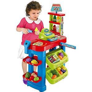 Mercadinho Infantil Turma Mônica Frutas Dinheiro Caixa Carrinho Bel Fix 491300