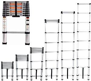 Escada Telescópica 2,6m Alumínio 8 Degraus Portátil 150kg Bel Fix 228100