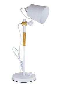 Luminária Articulada 2x1 Base Mesa Estudo Escritório Abajur Branco LMM-101
