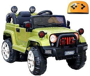 Mini Veículo Infantil Elétrico 3x1 Jipe 12v Controle Remoto Verde Glee S8-G