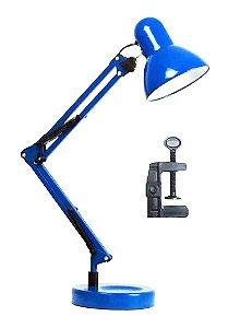 Luminária Mesa Metal Abajur Lâmpada Articulável Base Garra Flex Led Refletor Spot Azul MT-811C-BLUE