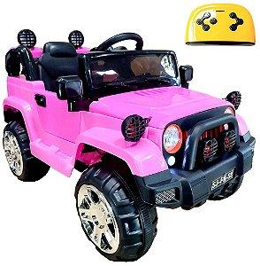 Mini Veículo Infantil Elétrico 3x1 Jipe 12v Controle Remoto Rosa Glee S8-P