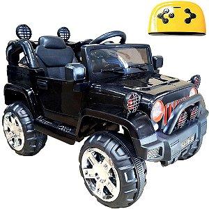 Mini Veículo Infantil Elétrico 3x1 Jipe 12v Controle Remoto Preto Glee S8-B