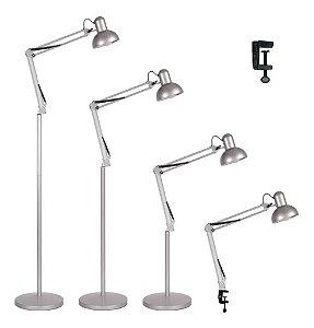 Luminária 2x1 Chão Piso Garra Mesa 1,90m Articulada Pedestal Coluna Abajur Led Prata MT-930B-G-S