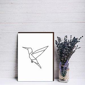 Quadro decorativo Beija-flor geométrico [Box de Madeira]