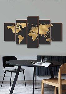 Mapa mundi preto e dourado - Mosaico [BoxMadeira]