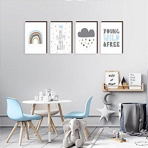 Quarteto de Quadros infantil Arco íris + Nuvem + Frases [BoxMadeira]