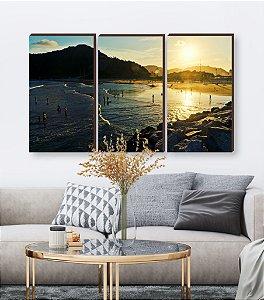 Trio de quadros Paisagem Itajaí Mod. 10 - Entardecer Praia da Atalaia [BoxMadeira]