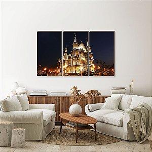 Trio de quadros Paisagem Itajaí Mod. 11 - Igreja Matriz do Santíssimo Sacramento noite [BoxMadeira]