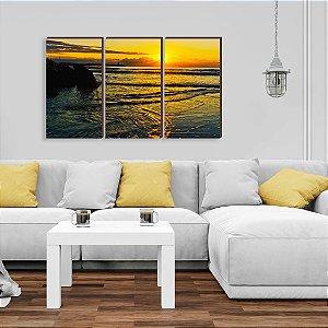 Trio de quadros Paisagem Itajaí Mod. 15 - Amanhecer Praia da Atalaia [BoxMadeira]