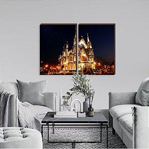 Dupla de quadros Paisagem Itajaí Mod. 11- Igreja do Santíssimo Sacramento noite [boxdemadeira]