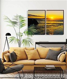 Dupla de quadros Paisagem Itajaí Mod. 15- Amanhecer na Praia do Atalaia [boxdemadeira]