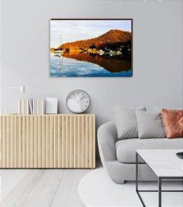 Quadro decorativo Paisagem Itajaí Mod.20- Baía Affonso Wippel Barcos de pesca [BoxMadeira]