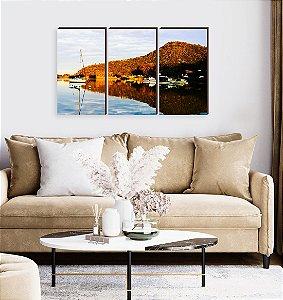 Trio de quadros Paisagem Itajaí Mod. 20- Baía Affonso Wippel Barcos de pesca [BoxMadeira]