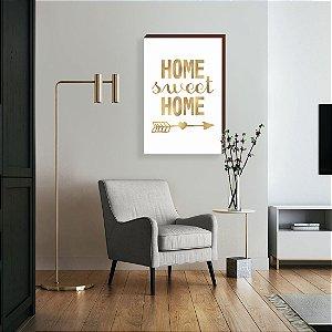 Quadro decorativo Home Sweet Home fundo branco com Dourado [Box de Madeira]