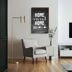 Quadro decorativo Home Sweet Home fundo quadro negro [Box de Madeira]