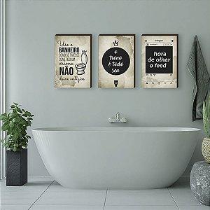 Trio de quadros Banheiro + frases fundo bege [BoxMadeira]