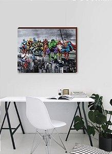 Quadro decorativo Heróis- Prédio Marvel e DC [BoxMadeira]