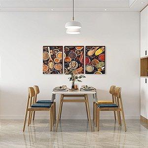 Trio de quadros de Cozinha - Temperos Mod. 01  [Box de madeira]
