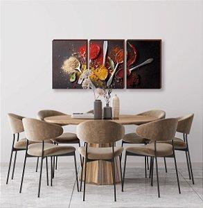 Trio de quadros de Cozinha - Temperos Mod. 02  [Box de madeira]