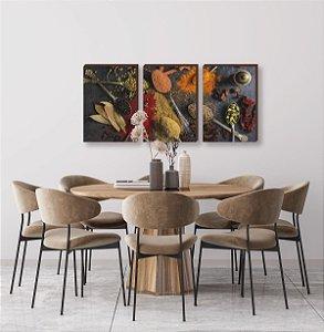 Trio de quadros de Cozinha - Temperos Mod. 05 [Box de madeira]