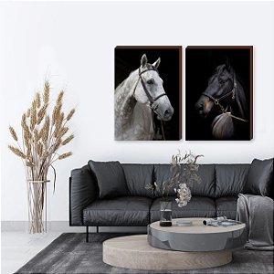 Dupla de quadros Cavalos Mod 02 [boxdemadeira]