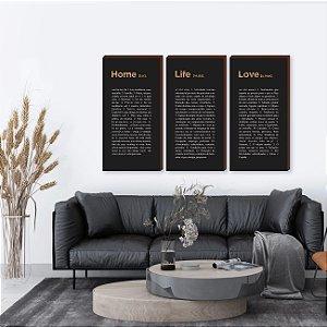 Trio de quadros Home, Life, Love - Preto e dourado [BoxMadeira]