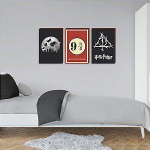 Quadros Trio Harry Potter- Vassoura, Plataforma e símbolo - Com vermelho [BOX DE MADEIRA]