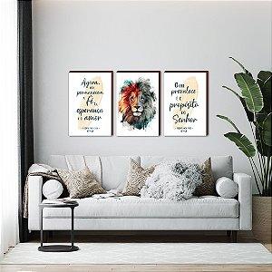 Trio de quadros Leão pincelada + Agora pois permanecem a fé + O que prevalece... - Amarelo [BOX DE MADEIRA]