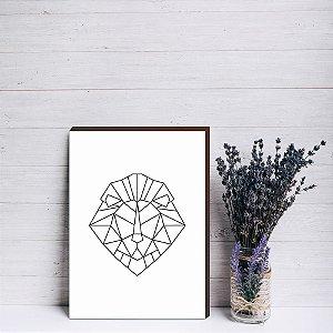 Quadro decorativo Leão geométrico [Box de Madeira]