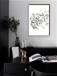 Quadro decorativo Mulher e Pássaros Mod 02 [BOX DE MADEIRA]