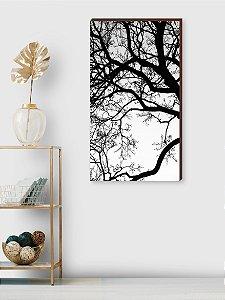 Quadro decorativo Galhos preto e branco [BOX DE MADEIRA]