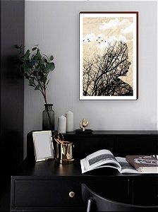 Quadro decorativo Mulher e Pássaros Mod 03 [BOX DE MADEIRA]