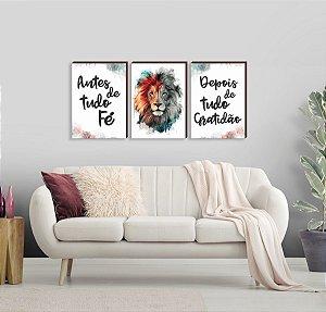 Quadros Trio Leão pincelada + Antes de tudo fé... Depois de tudo gratidão [BOX DE MADEIRA]