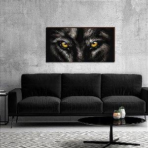 Quadro decorativo Olhos Lobo horizontal preto  [BoxMadeira]
