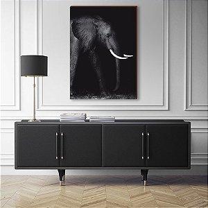 Quadro decorativo Animais Selvagens Elefante de lado - fundo preto [BoxMadeira]