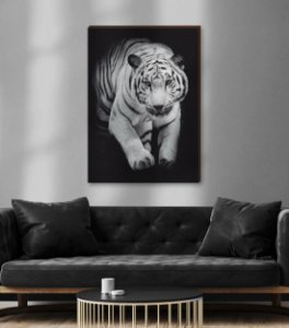 Quadro decorativo Animais Selvagens Tigre - fundo preto [BoxMadeira]