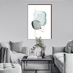 Quadro decorativo Manchas Azul e Dourado Mod.01 [box de Madeira]