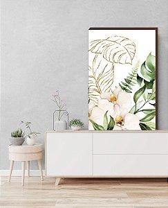 Quadro decorativo Folhagem+ Flor Antúrio Mod.01 [box de Madeira]