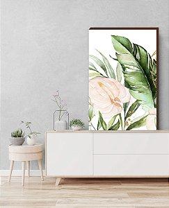 Quadro decorativo Folhagem+ Flor Antúrio Mod.02 [box de Madeira]