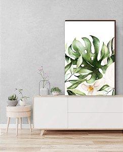 Quadro decorativo Folhagem+ Flor Antúrio Mod.04 [box de Madeira]