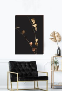 Quadro decorativo Galhos dourados - Fundo preto Mod.02  [BoxMadeira]