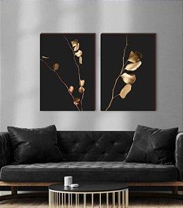 Dupla de quadros Galhos Dourados-  fundo preto [boxdemadeira]