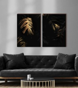 Dupla de quadros Costela de Adão Dourado- fundo preto [boxdemadeira]