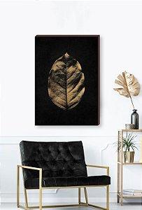 Quadro decorativo Folha dourada - Fundo preto Mod.01  [BoxMadeira]