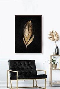 Quadro decorativo Folha dourada - Fundo preto Mod.02  [BoxMadeira]