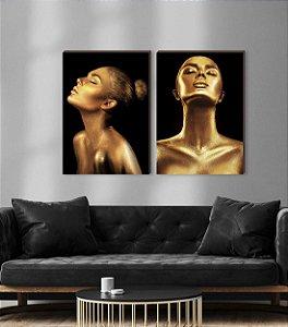 Dupla de quadros Mulheres Dourado [boxdemadeira]