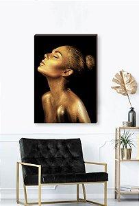 Quadro decorativo Mulher Dourado- Fundo preto Mod.01  [BoxMadeira]