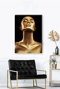 Quadro decorativo Mulher Dourado- Fundo preto Mod.02  [BoxMadeira]