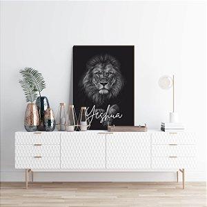 Quadro decorativo Leão Pose + Yeshua [BoxMadeira]